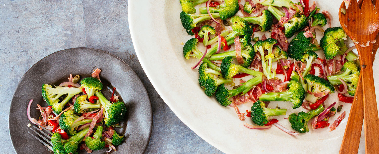 Garlicky broccoli and salami recipe
