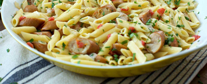 Chicken & cheddar sausage w creamy pasta