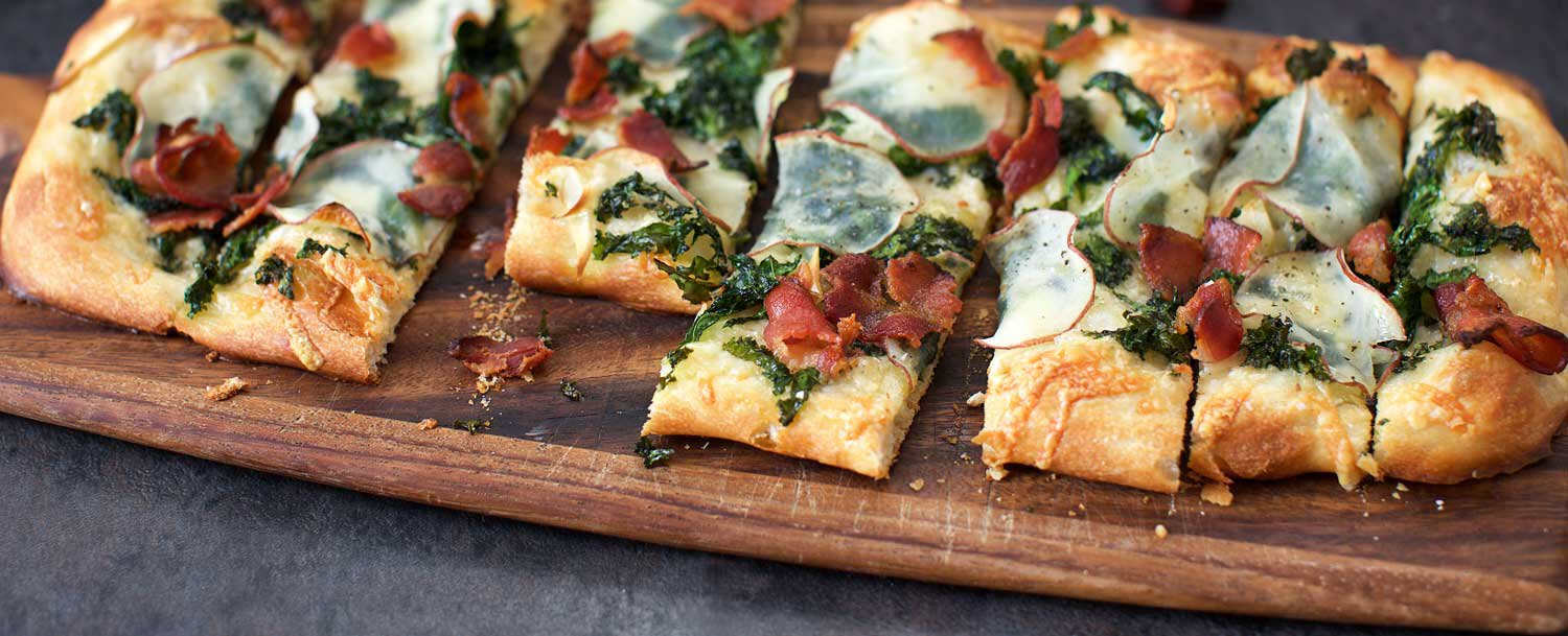 Kale, potato and bacon pizza