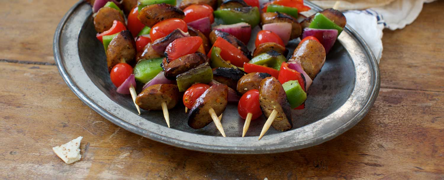 Peach jerk chicken sausage kebabs