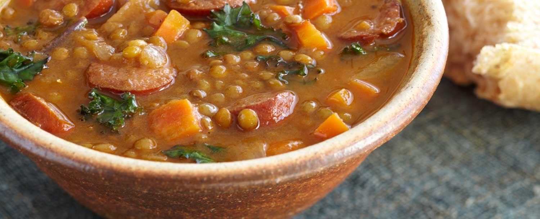 Lentil soup (with kale & organic sausage)