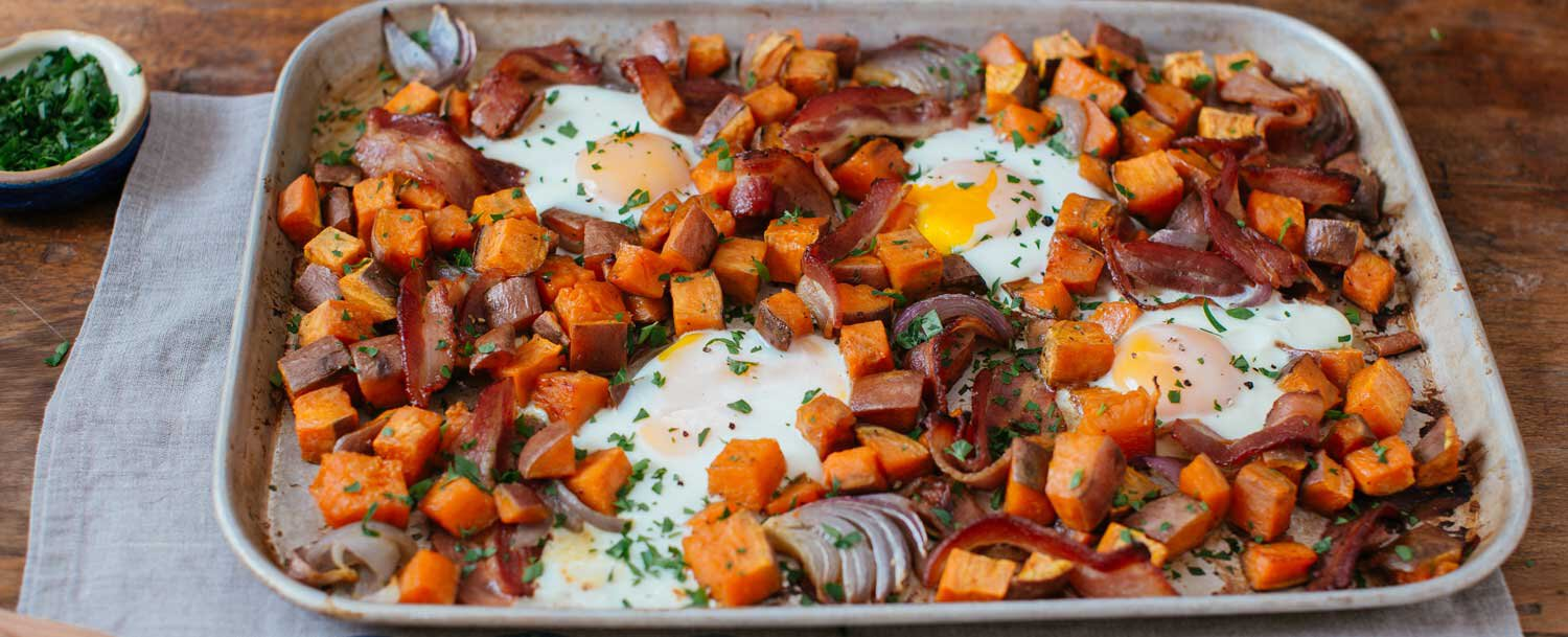 Recipes Sheet Pan Breakfast With Sweet Potatoes And Bacon