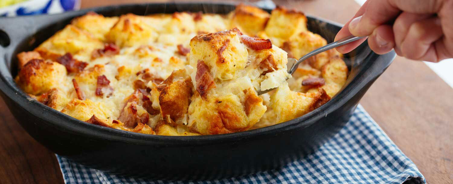 Recipes - Savory Bacon Bread Pudding