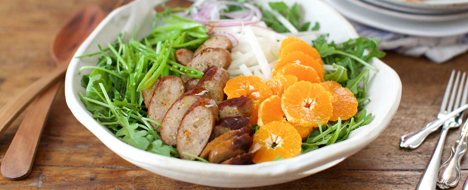 Peach jerk sausage salad recipe