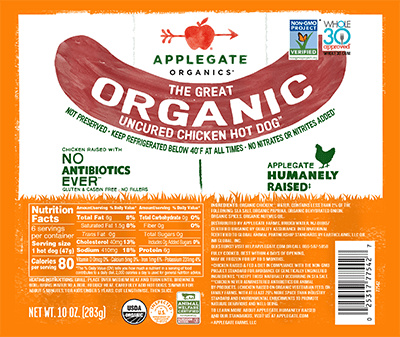 Applegate Organics The Great Organic Uncured Chicken Hot Dog Brand