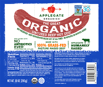 Applegate Organics The Great Organic Uncured Beef Hot Dog Brand - 10oz