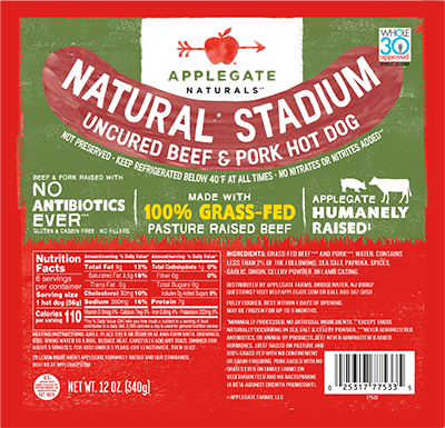 Applegate Naturals Stadium Beef & Pork Hot Dog