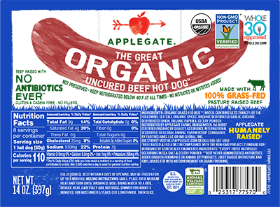 Applegate Organics The Great Organic Uncured Beef Hot Dog Brand - 14oz