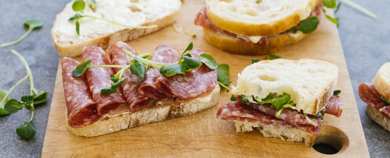 Simple salami sandwich
