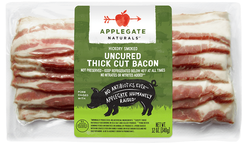 Natural thick cut bacon front