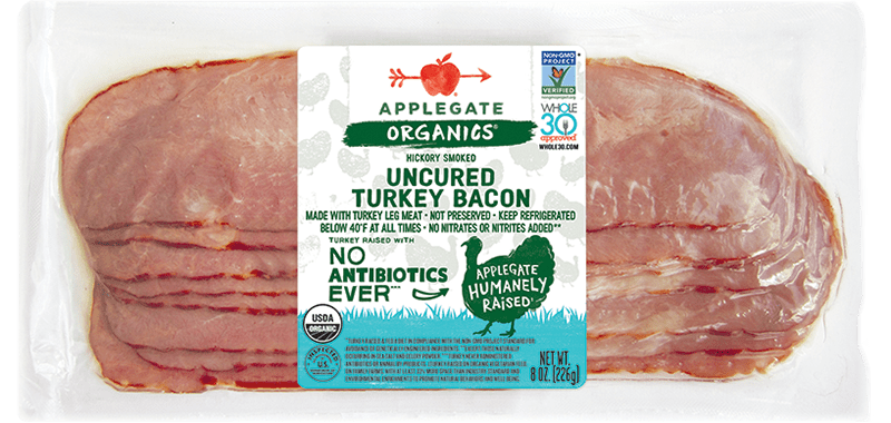 Organic turkey bacon front