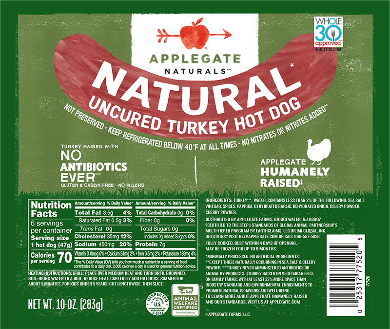 Nat turkey hot dogs front