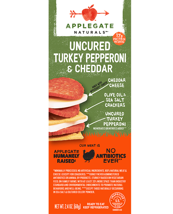 Turkey pepperoni snack front
