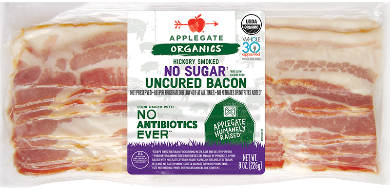 Organic no sugar bacon front