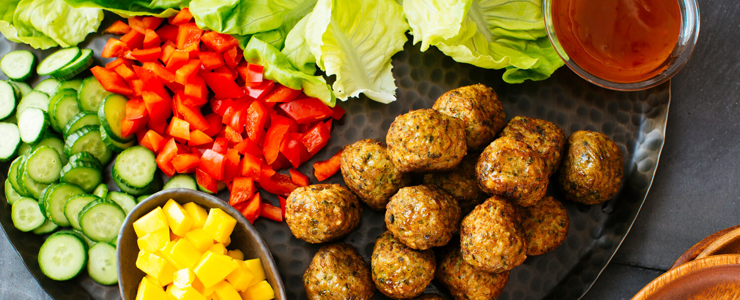 Pork meatballs lettuce wraps